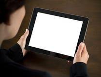 Mulher de negócio que prende o PC em branco da tabuleta Fotografia de Stock