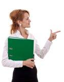 Mulher de negócio que prende um dobrador imagens de stock