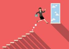 Mulher de negócio que salta ao sucesso Fotos de Stock Royalty Free