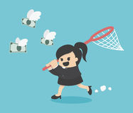Mulher de negócio que tenta travar o dinheiro ilustração do vetor