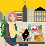 Mulher de negócio que trabalha no computador ilustração do vetor