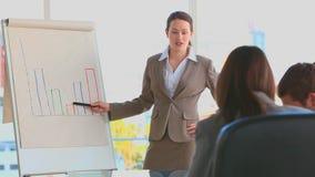 Mulher de negócio que usa um quadro-negro video estoque