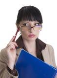 Mulher de negócio querendo saber Fotografia de Stock Royalty Free