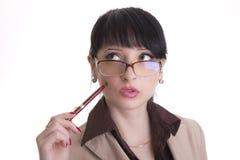 Mulher de negócio querendo saber Imagens de Stock Royalty Free