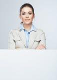 Mulher de negócio, retrato vazio da placa Fotografia de Stock