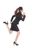 Mulher de negócio Running do comprimento cheio fotografia de stock