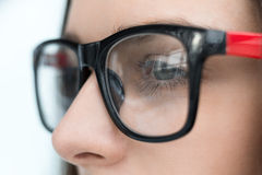 Mulher de negócio segura nos vidros Foto de Stock Royalty Free