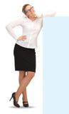 Mulher de negócio segura que está o comprimento completo no fundo branco Imagens de Stock