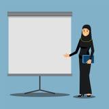 Mulher de negócios árabe em uma apresentação ilustração do vetor