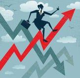 Mulher de negócios abstrata Climbs que as vendas fazem um mapa. Imagens de Stock Royalty Free