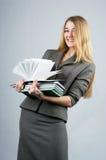 Mulher de negócios alegre bonita imagens de stock