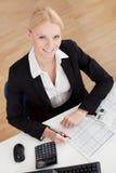 Mulher de negócios alegre do contabilista imagem de stock royalty free
