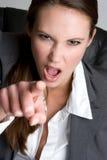 Mulher de negócios apontando virada foto de stock