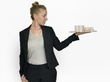 A mulher de negócios Architectural Model Plan construiu o conceito da estrutura imagem de stock royalty free