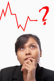 Mulher de negócios asiática nova incerta Imagens de Stock Royalty Free
