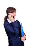 Mulher de negócios atrativa com telemóvel Imagem de Stock