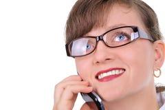 Mulher de negócios atrativa com telemóvel Imagem de Stock Royalty Free