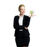 Mulher de negócios atrativa que tem uma ideia imagem de stock royalty free