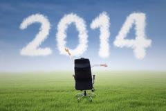 Mulher de negócios bem sucedida com a nuvem 2014 Imagens de Stock Royalty Free