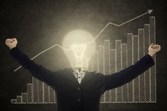 Mulher de negócios bem sucedida da cabeça da lâmpada Fotos de Stock