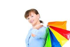 Mulher de negócios bonita com bas da compra Fotografia de Stock
