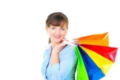 Mulher de negócios bonita com bas da compra Foto de Stock