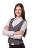 Mulher de negócios bonita nova com o braço dobrado isolado Fotografia de Stock
