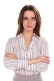 Mulher de negócios bonita nova com o braço dobrado Retrato completo da altura Fotos de Stock