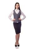 Mulher de negócios bonita nova isolada Retrato completo da altura Fotografia de Stock