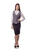 Mulher de negócios bonita nova isolada Retrato completo da altura Foto de Stock Royalty Free