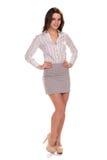 Mulher de negócios bonita nova isolada Retrato completo da altura Fotografia de Stock Royalty Free