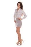 Mulher de negócios bonita nova isolada Retrato completo da altura Fotos de Stock Royalty Free