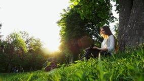 Mulher de negócios bonita nova que senta-se na grama perto da árvore e no caderno do uso, mulher que datilografa em um portátil n video estoque