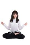 Mulher de negócios bonita que exercita a ioga Fotos de Stock Royalty Free