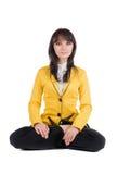 Mulher de negócios bonita que exercita a ioga. Fotos de Stock Royalty Free