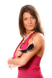 Mulher de negócios bonita sobre o branco Imagens de Stock Royalty Free