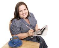 Mulher de negócios - caça positiva do trabalho Fotos de Stock Royalty Free