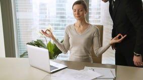 Mulher de negócios calma nova que medita no local de trabalho, empregado irritado do xingamento do chefe vídeos de arquivo
