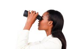 Mulher de negócios carismática que olha ao futuro Foto de Stock Royalty Free