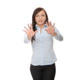 Mulher de negócios caucasiano scared nova imagens de stock