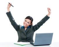 Mulher de negócios Celebrating Success Fotos de Stock Royalty Free