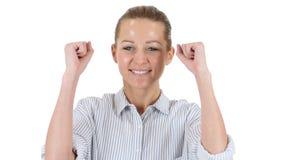 Mulher de negócios Celebrating Success, fundo branco Imagens de Stock