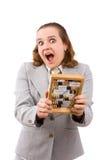Mulher de negócios com ábaco de madeira. fotos de stock