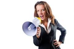 Mulher de negócios com altifalante Fotos de Stock Royalty Free