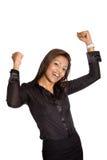 a mulher de negócios com ambos os braços levanta a elevação, Imagens de Stock Royalty Free