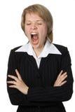 Mulher de negócios com boca aberta Fotos de Stock Royalty Free