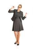 Mulher de negócios com brinquedo plano à disposição Fotos de Stock Royalty Free