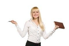 Mulher de negócios com caderno Fotografia de Stock Royalty Free
