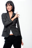 Mulher de negócios com cartão imagens de stock royalty free
