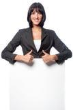 Mulher de negócios com cartão fotografia de stock